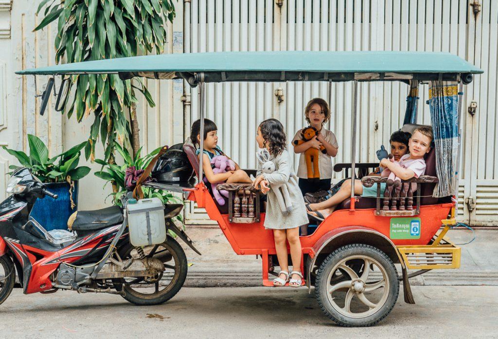 Children on Tuk Tuk with Sleepy Snoogus