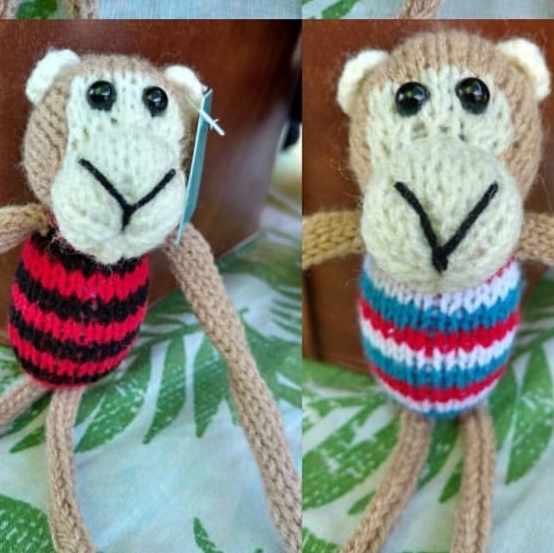 Knitted Footie striped monkeys
