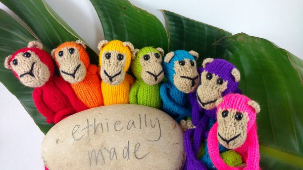 Knitted Monkey Rainbow Set