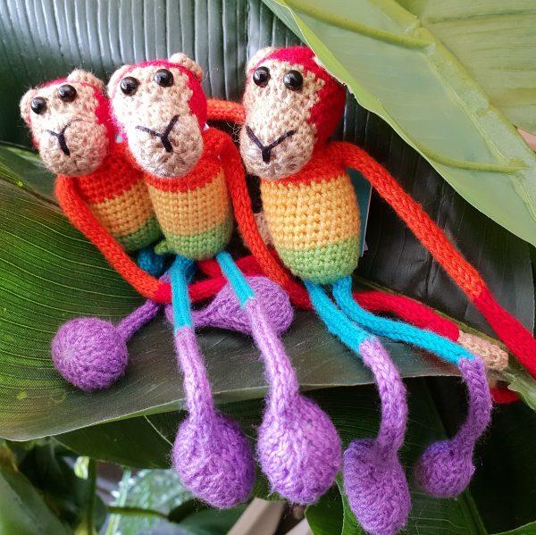 Knitted Rainbow striped monkeys