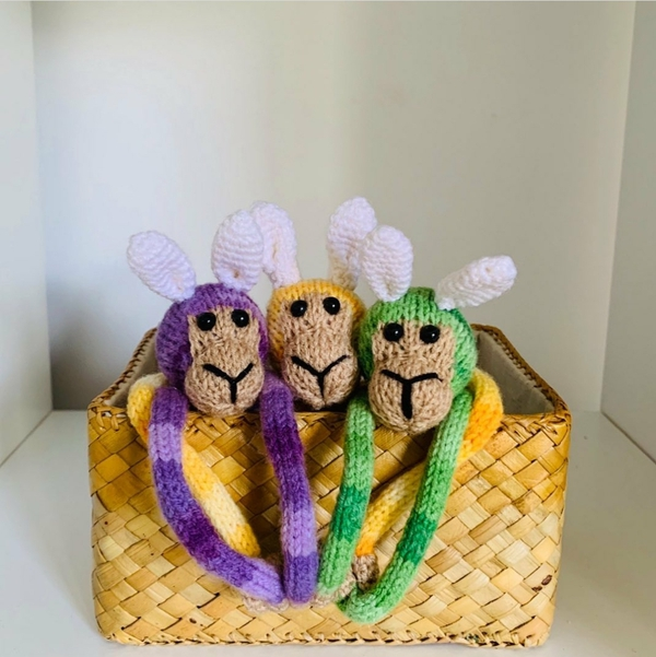 Set of 3 Magnetic BUNNY Monkeys