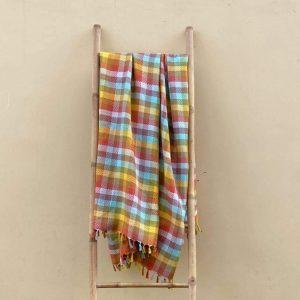 Rainbow Squares Handwoven Blanket